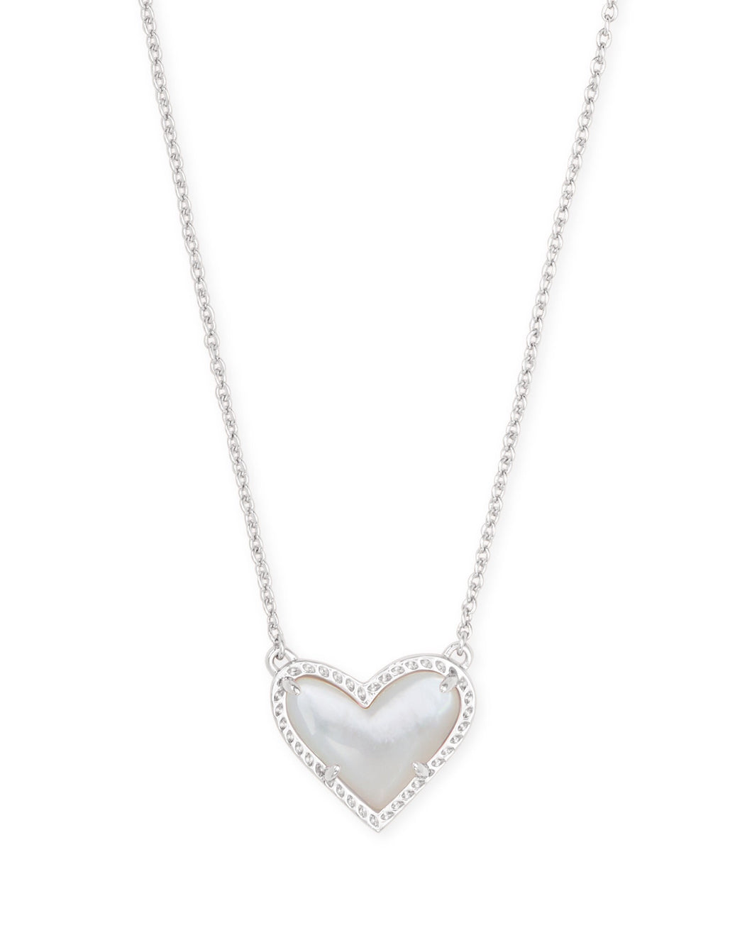 Ari Silver Heart Short Necklace-Ivory Mother of Pearl