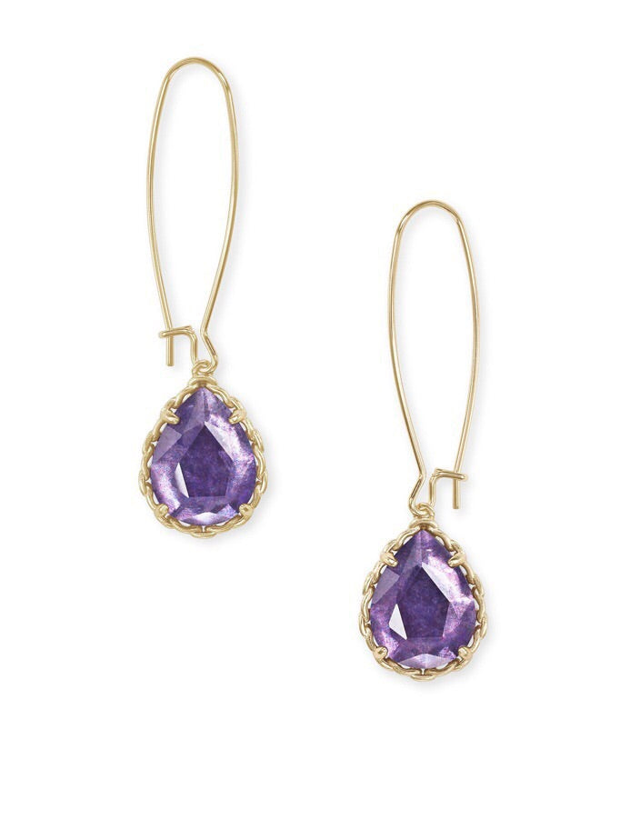 Macrame Dee Gold Earring-Purple Mica