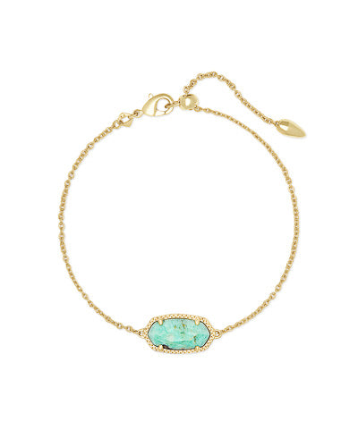 Elaina Gold Single Slide Bracelet-Sea Green Chrysocolla
