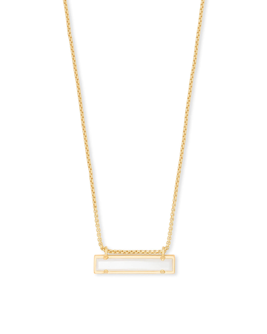 Leanor Gold Bar Necklace-Ivory Mother of Pearl