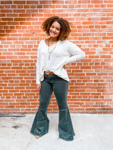 Load image into Gallery viewer, Olive Corduroy FLared Pants