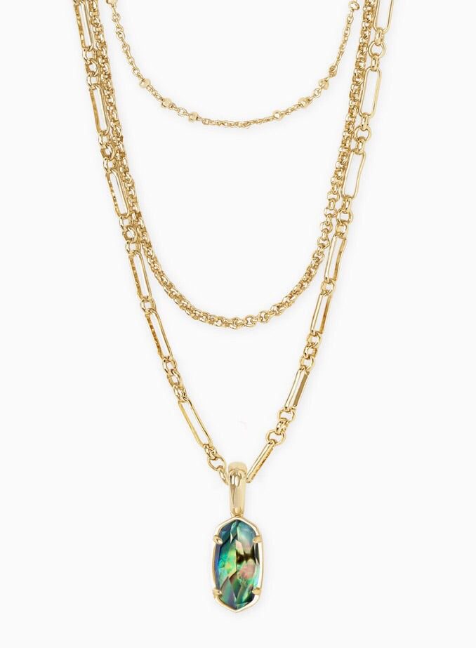 Elisa Triple Strand Gold Necklace-Abalone