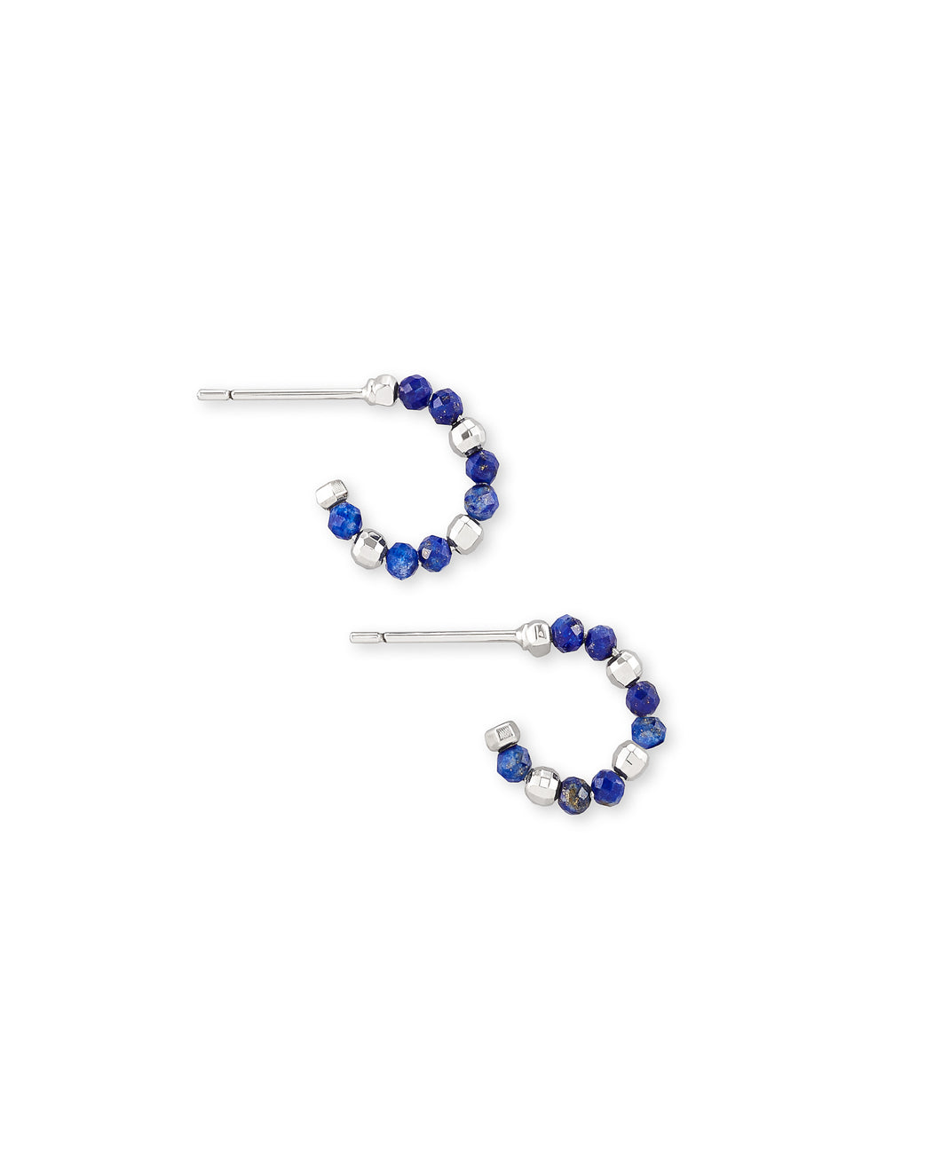 Scarlet Silver Huggie Earrings- Blue Lapis