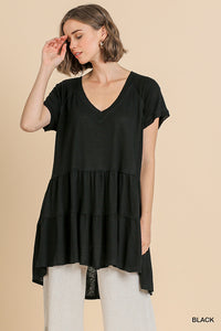 Black V-Neck Tunic