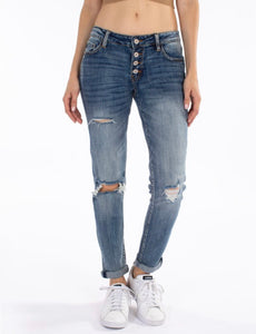 Mid-Rise Button Fly Mom Jeans