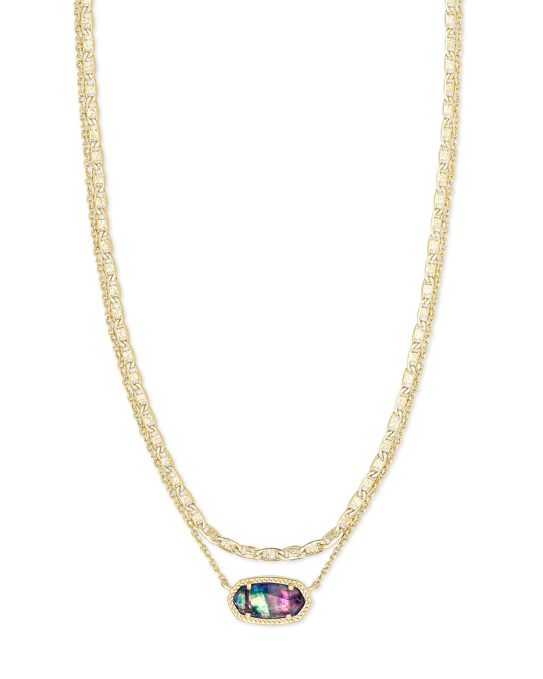 Elisa Gold Multi Stand Necklace-Lilac Abalone