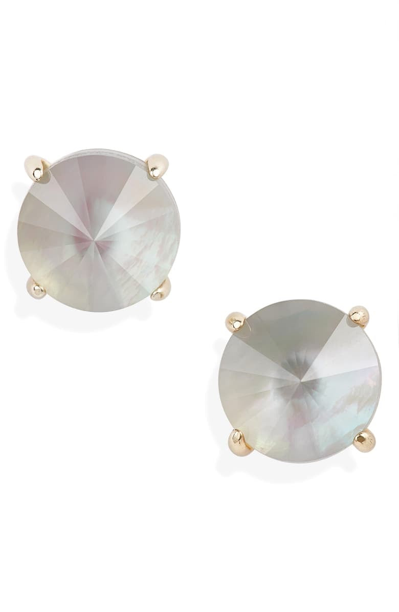Jolie Gold Stud Earrings-Gray Illusion