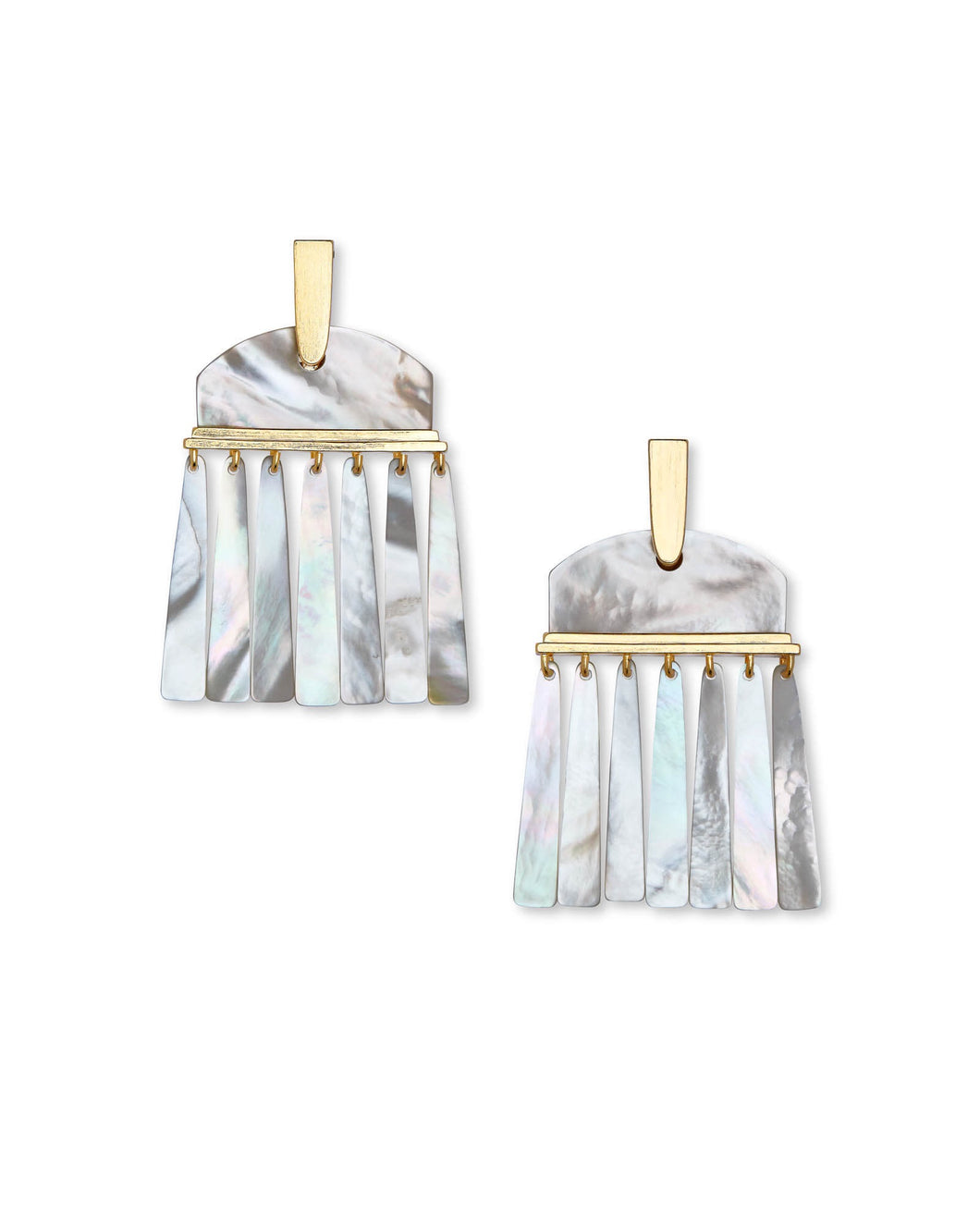 Layne Gold Statement Earrings-Ivory Mother of Pearl