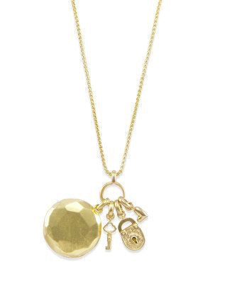 Key To Heart Gold Charm Necklace