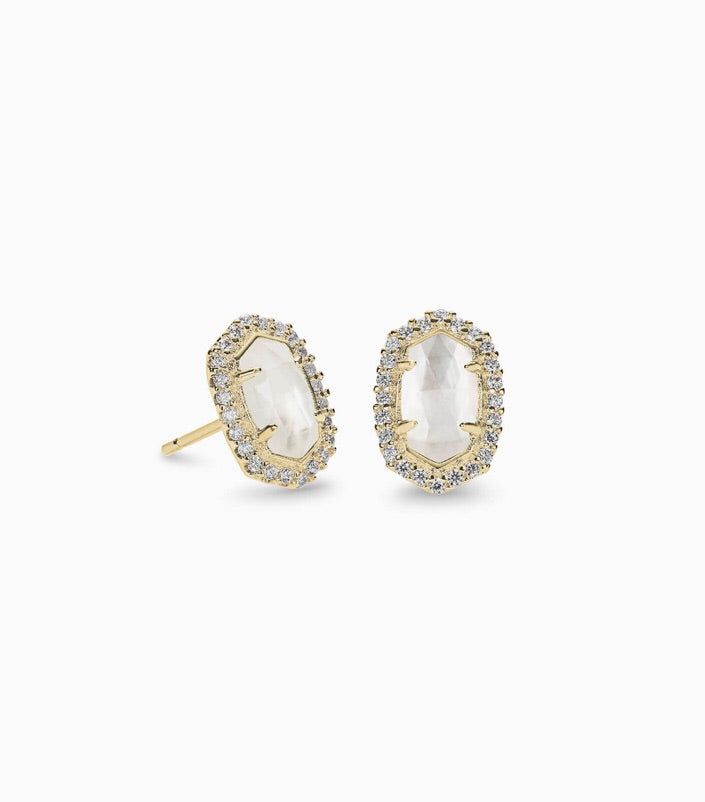 Cade Gold Stud Earrings-Ivory Mother of Pearl