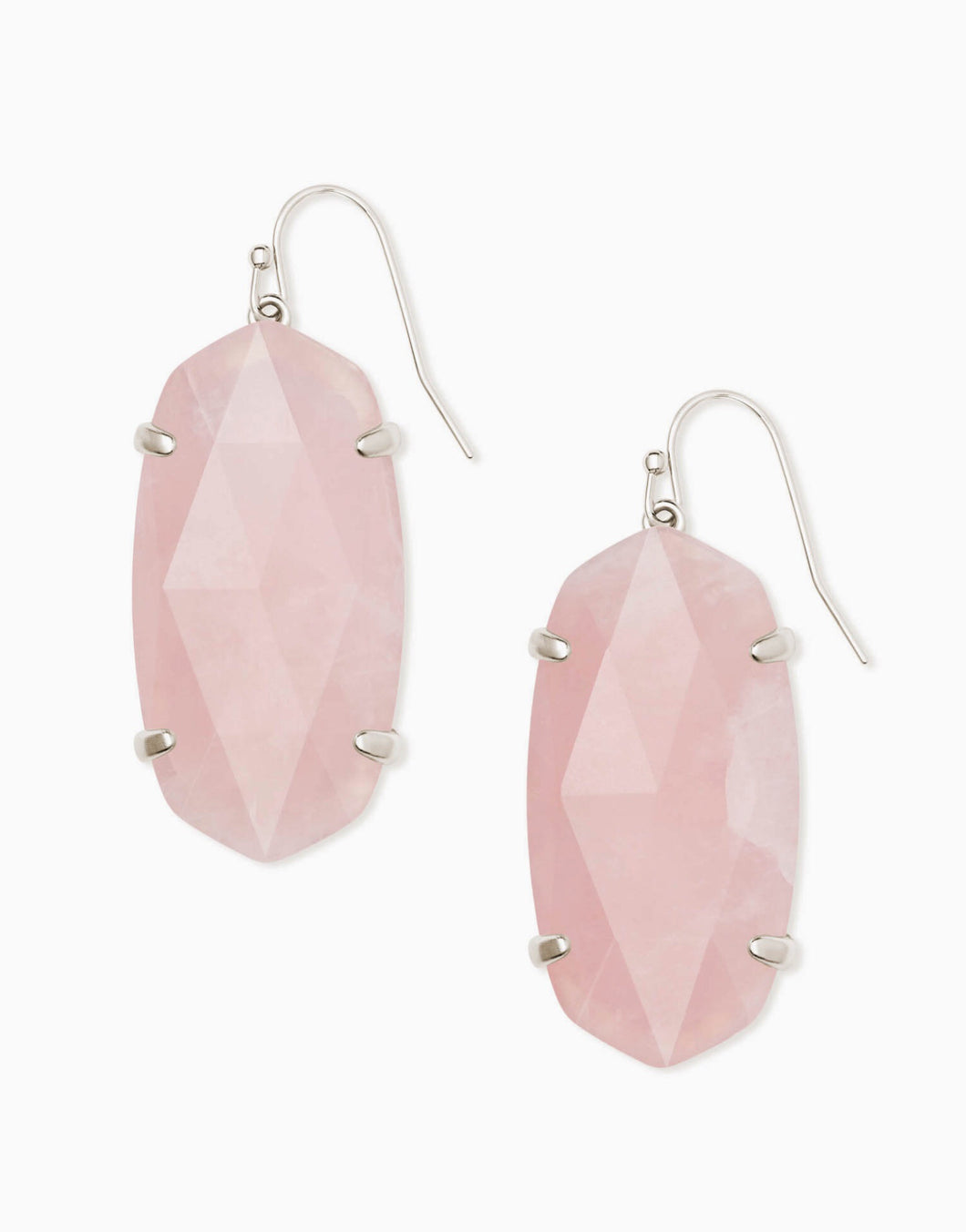 Esme Silver Drop Earrings-Rose Quartz