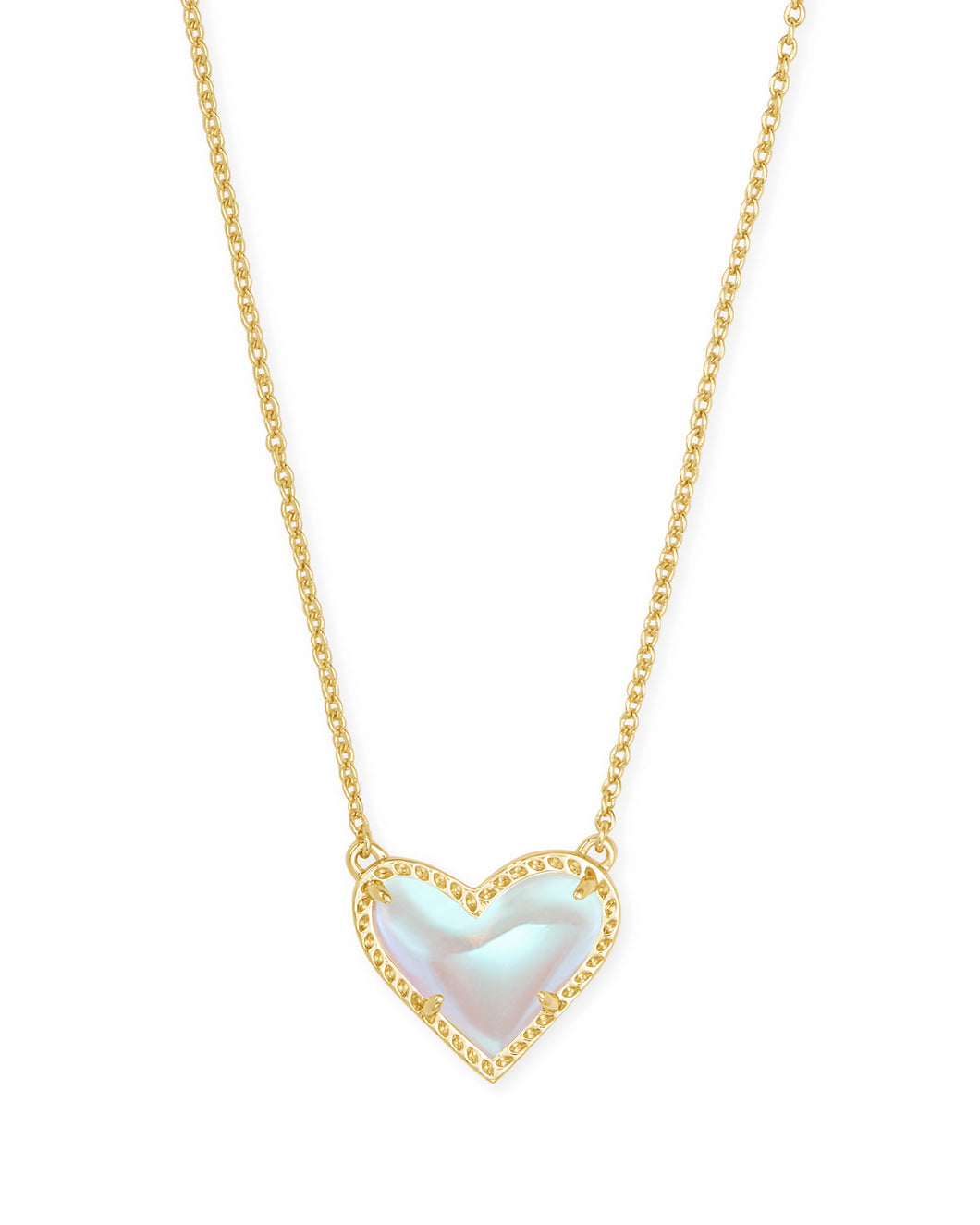Ari Gold Heart Necklace-Dichroic Glass