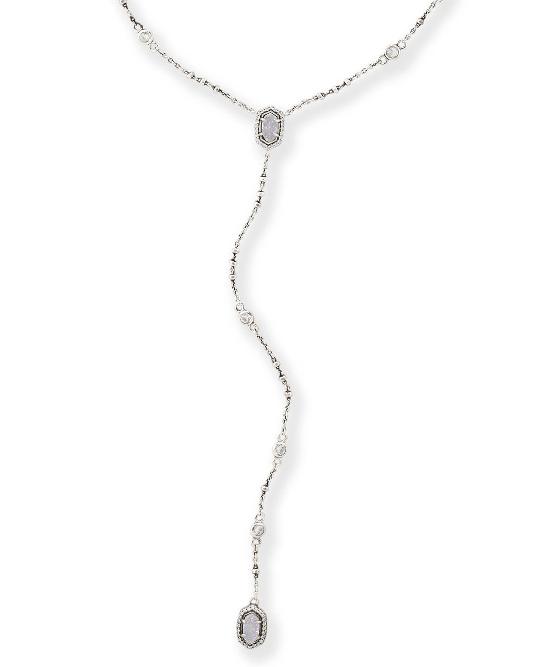Claudia Antique Silver Lariat Necklace