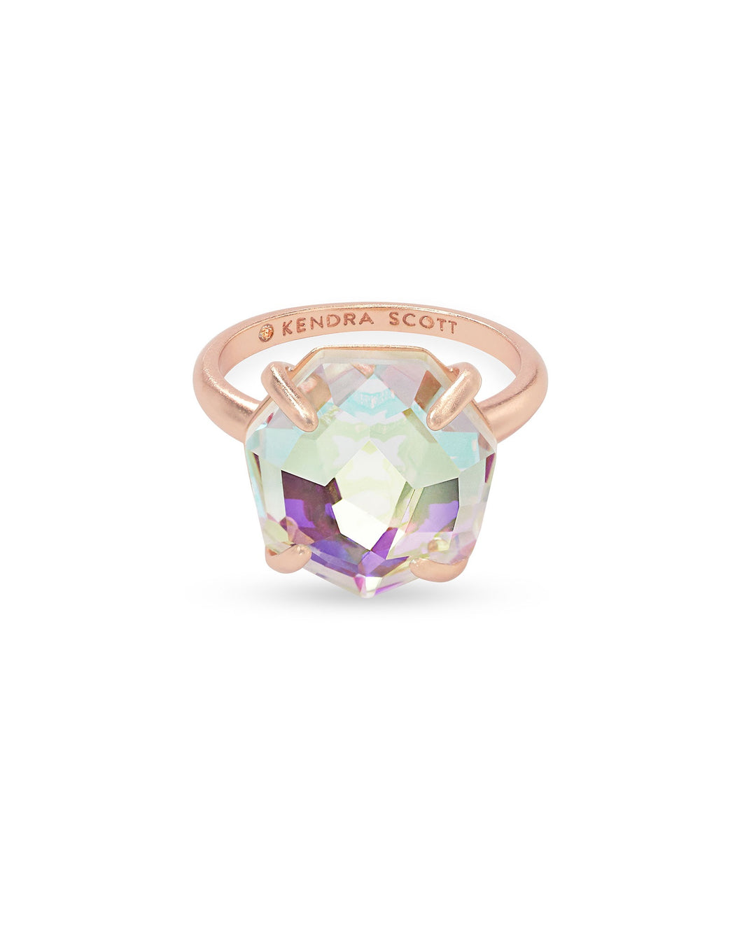 Ryan Rose Gold Cocktail Ring-Dichroic Glass