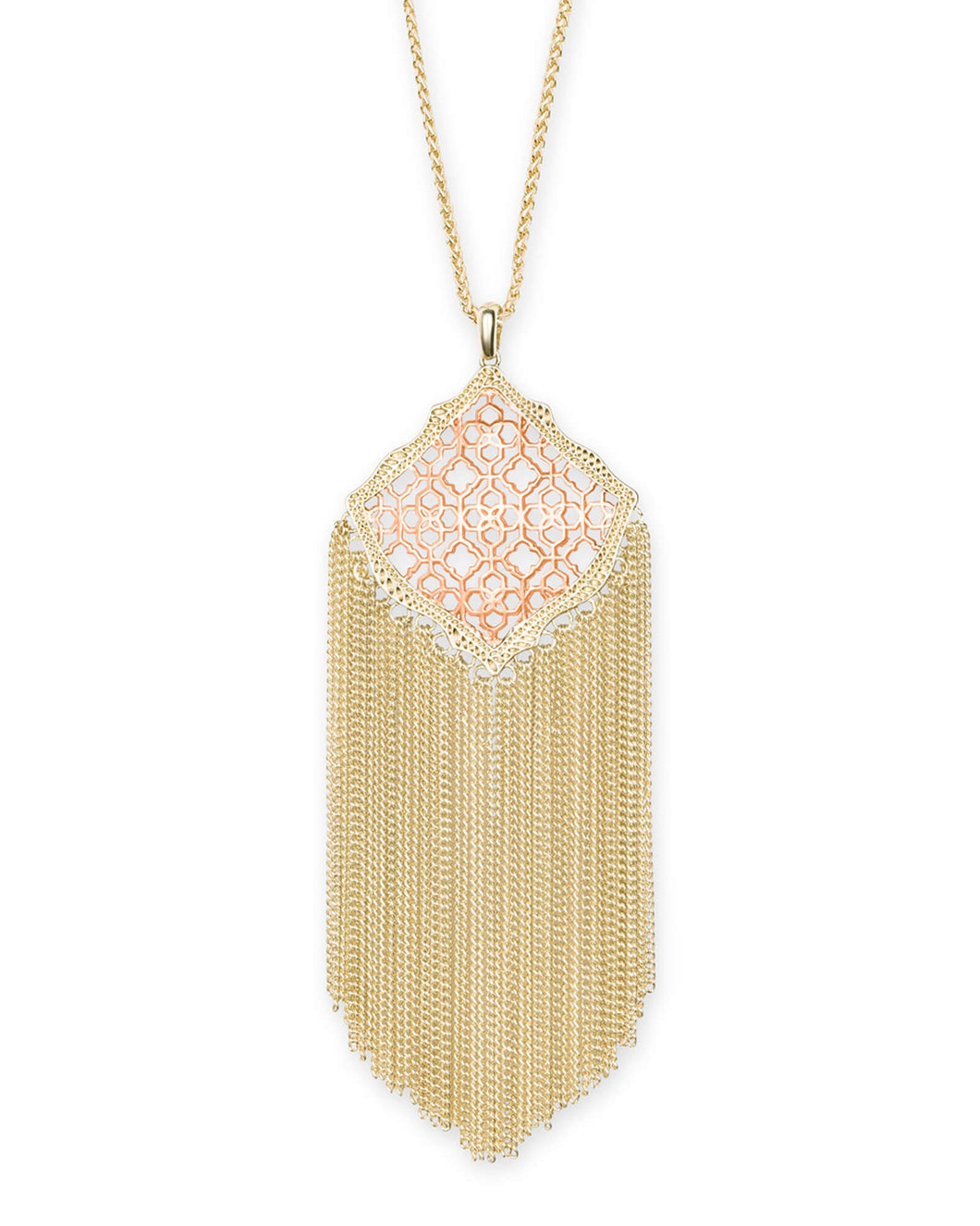 Kingston Gold Long Necklace- Rose Gold Filigree