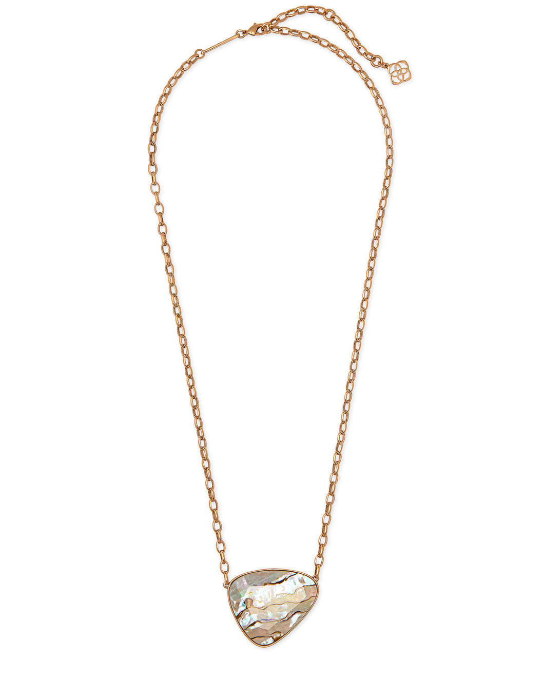 Mckenna Vintage Gold Pendant Necklace-White Abalone