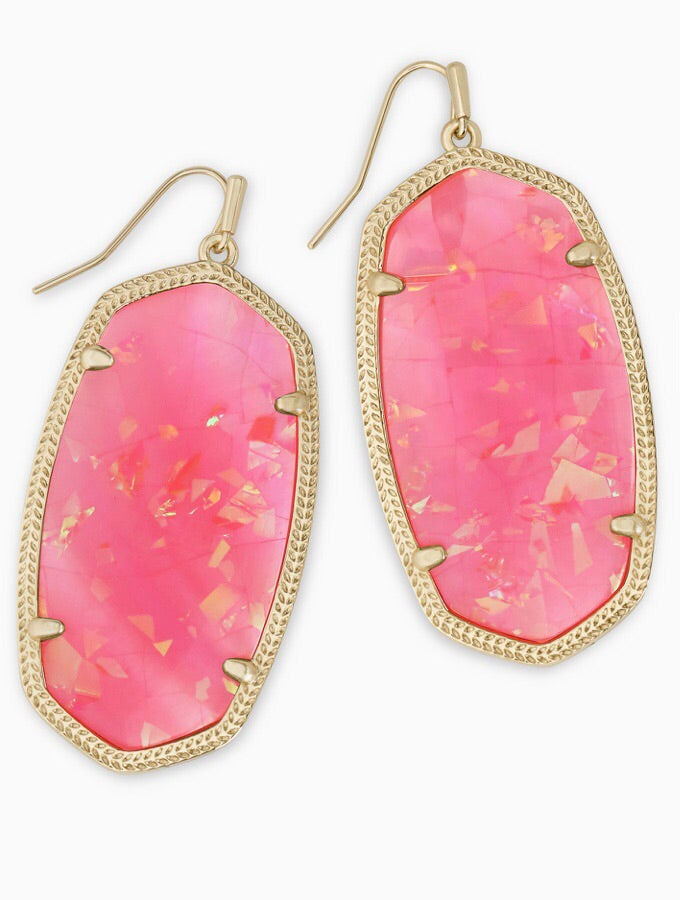 Danielle Gold Earrings-Iridescent Coral Illusion