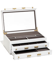 Load image into Gallery viewer, Large Antique Brass Jewelry Box In White Lacquer