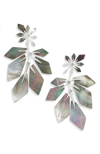 Jaylin Bright Silver Statement Earrings-Black Mother of Pearl