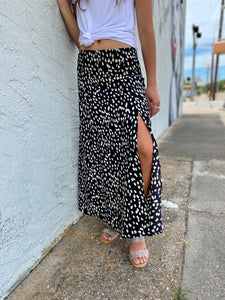 Animal Print Long Skirt-Black