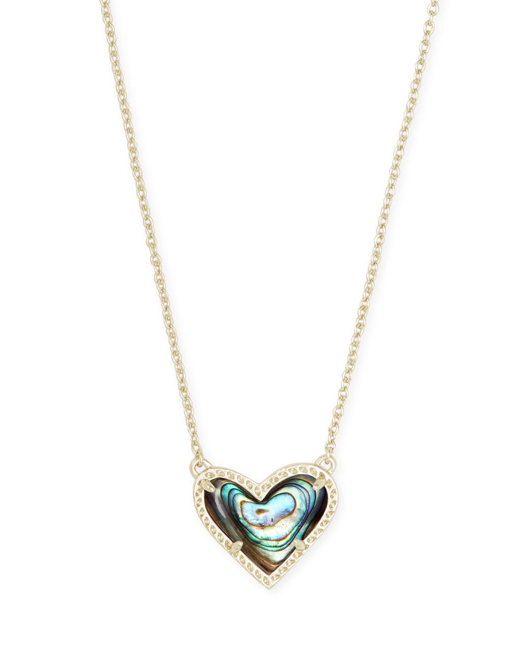 Ari Gold Heart Short Necklace-Abalone