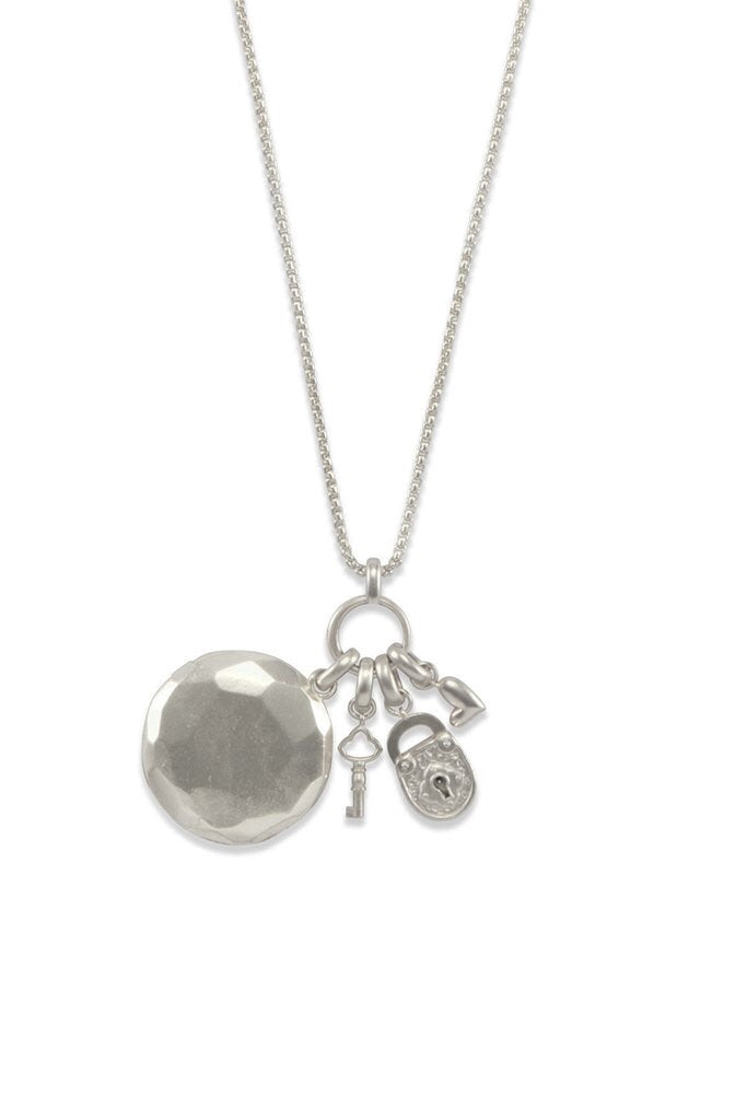 Key To Heart Vintage Silver Charm Necklace