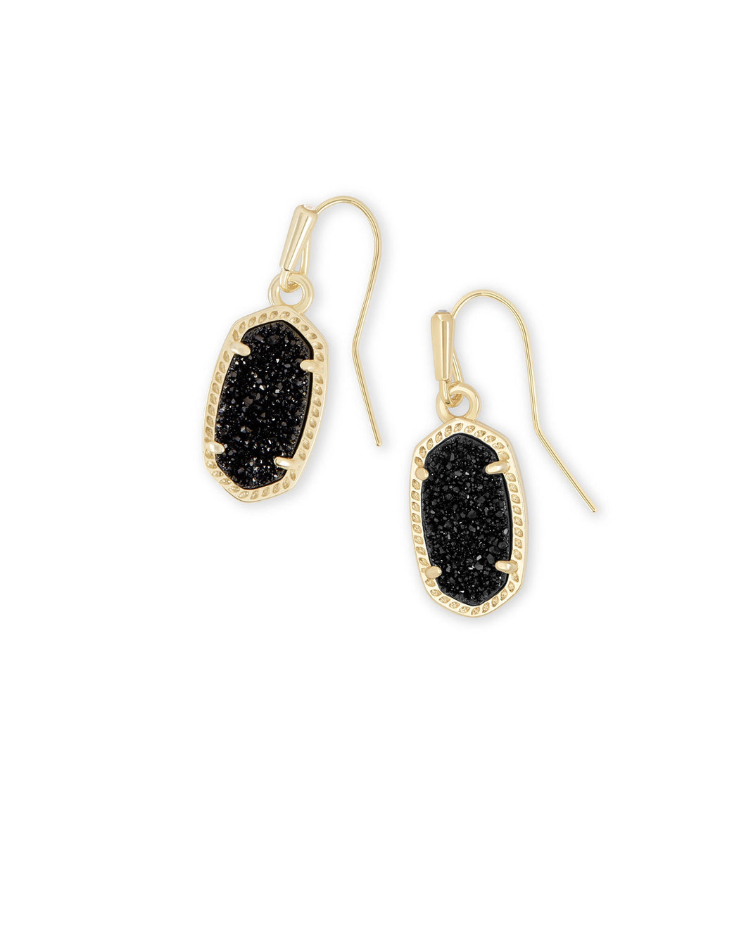 Lee Gold Drop Earrings-Black Drusy