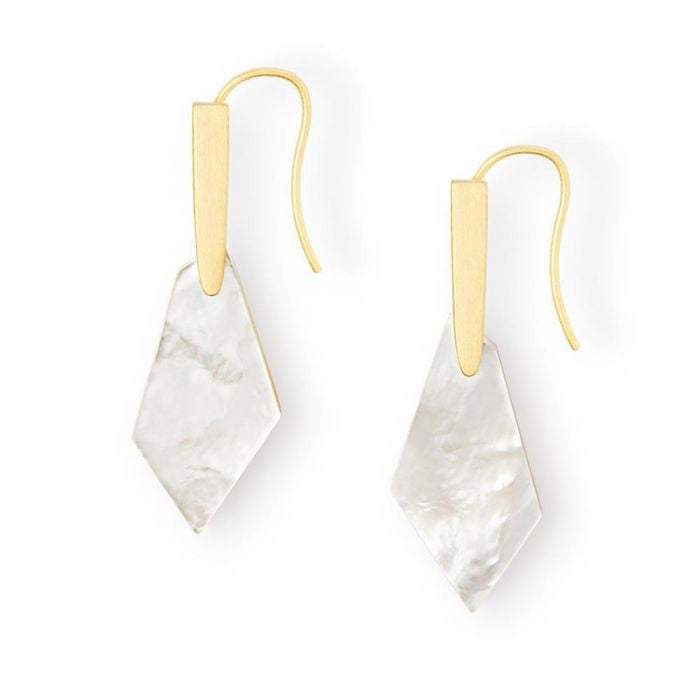 Gianna Gold Drop Earrings-Ivory Mother of Pearl
