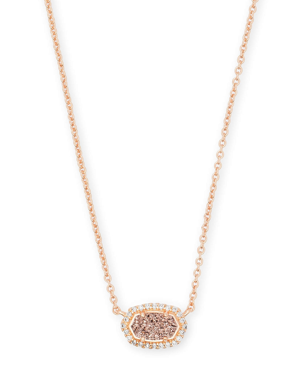 Chelsea Rose Gold Pendant Necklace-Rose Gold Drusy