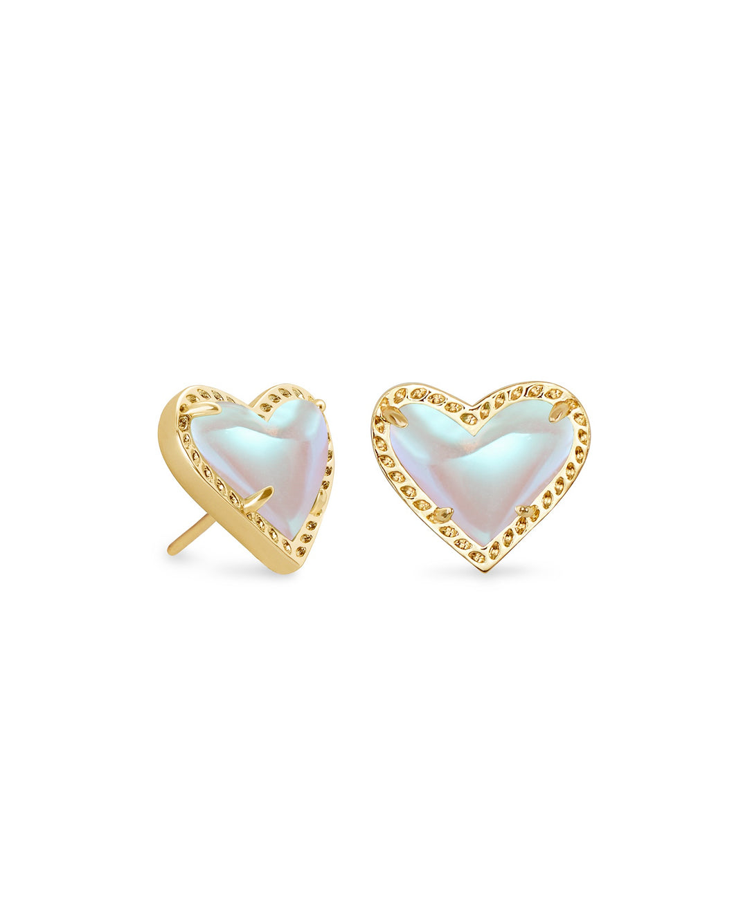 Ari Gold Heart Stud Earrings-Dichroic Glass