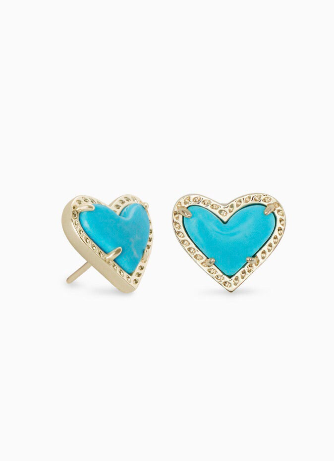 Ari Gold Heart Stud Earrings-Turquoise Magnesite