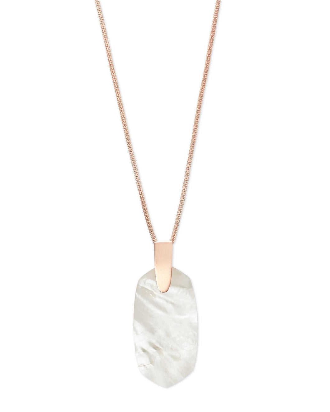 Inez Rose Gold Pendant Necklace-Ivory Mother of Pearl