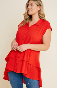 Red Button Down Tunic