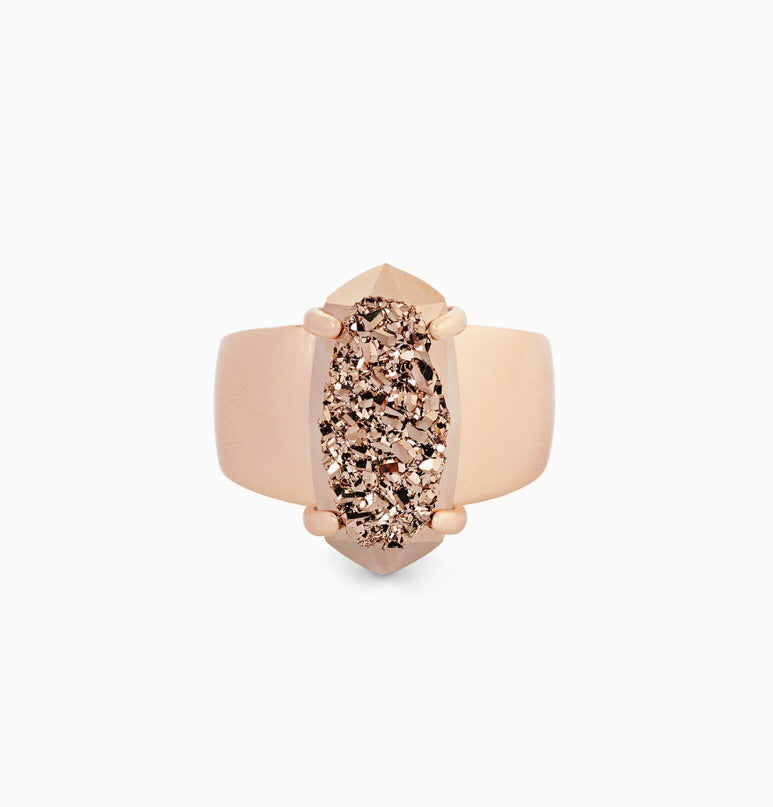 Harrison Rose Gold Cocktail Ring-Rose Gold Drusy