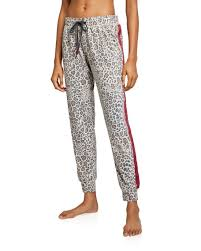 Leopard Lounge Pants with Red/Black Side Strip