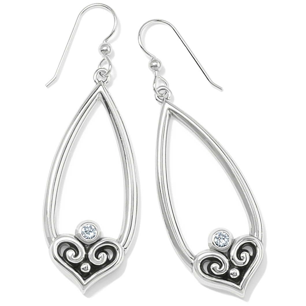 Alcazar Heart Teardrop French Wire Earrings