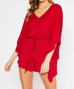 Red V-Neck Romper