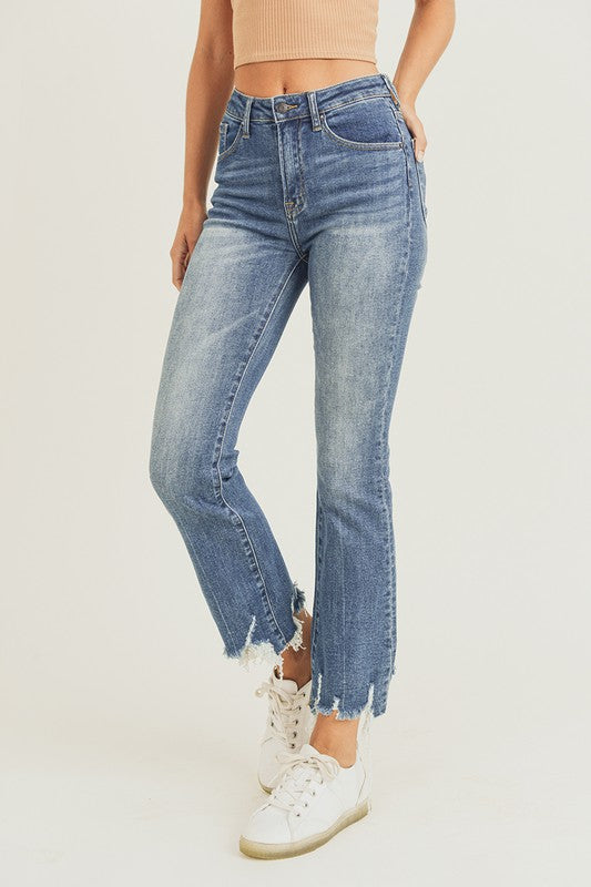 High Rise Frayed Hem Ankle Flare