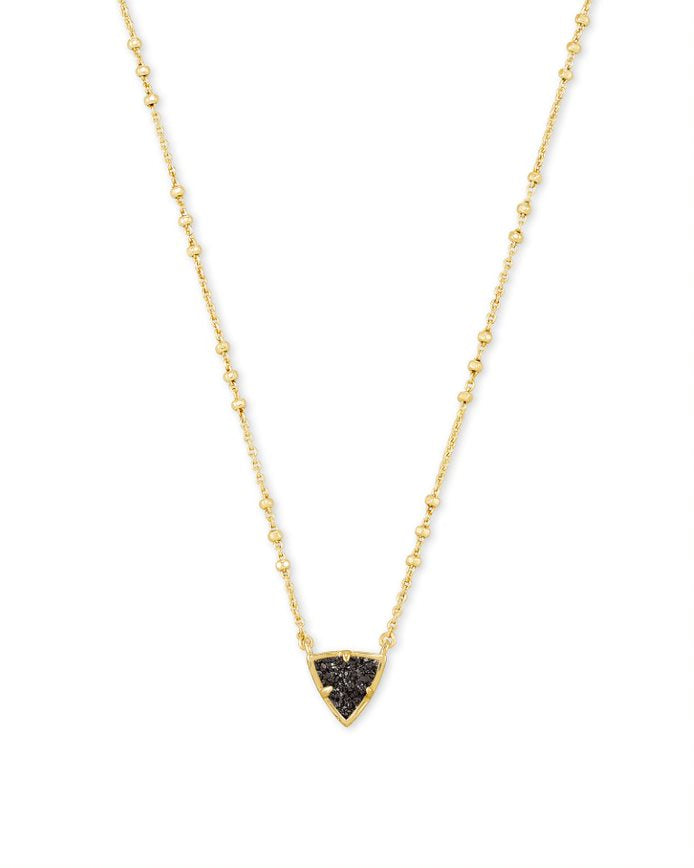 Perry Short Pendant Necklace - Gold Black Drusy