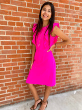 Load image into Gallery viewer, Hot Pink Ruffle Sleeve V Back Dress