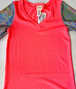 Neon Pink Thermal Waffle V-Neck
