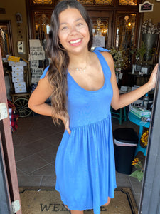Blue Sleeveless Dress With Shoulder Tie