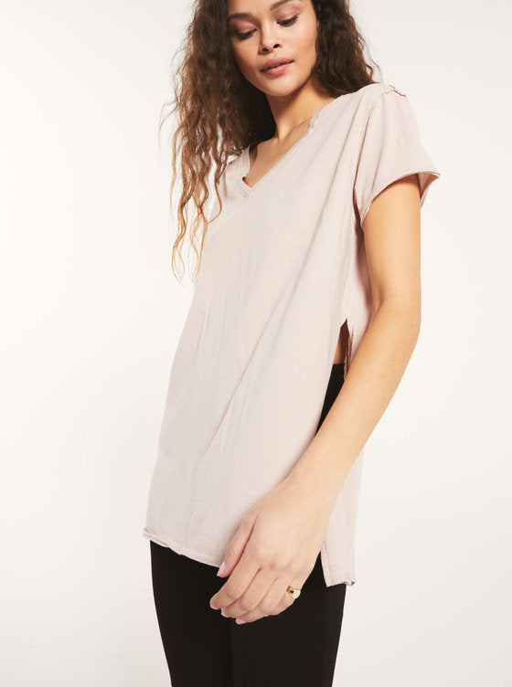 Organic Cotton Side Slit Tunic- Ash Pink