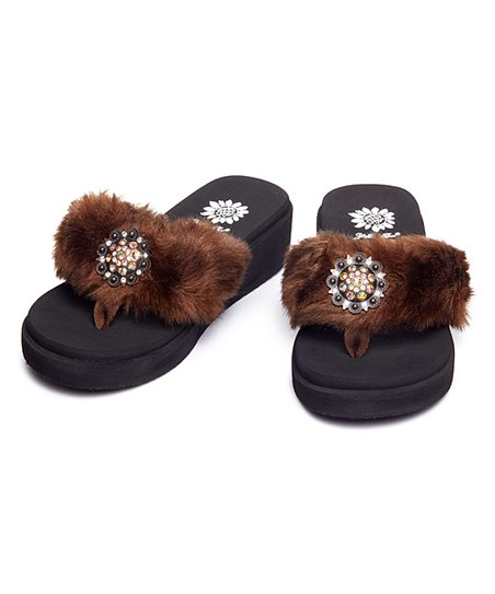 Jessee Brown Faux Fur Slippers