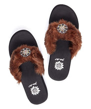 Load image into Gallery viewer, Jessee Brown Faux Fur Slippers