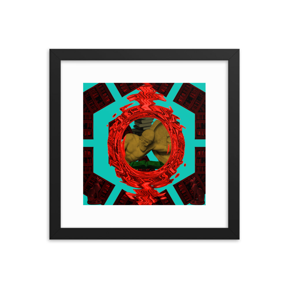 Warrior in the Library 1 (with frame)-Framed Print-Popquiz Gods