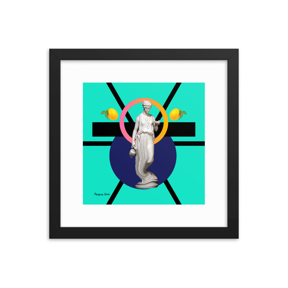 Hestia Makes Lemonade (with Frame)-Framed Print-Popquiz Gods