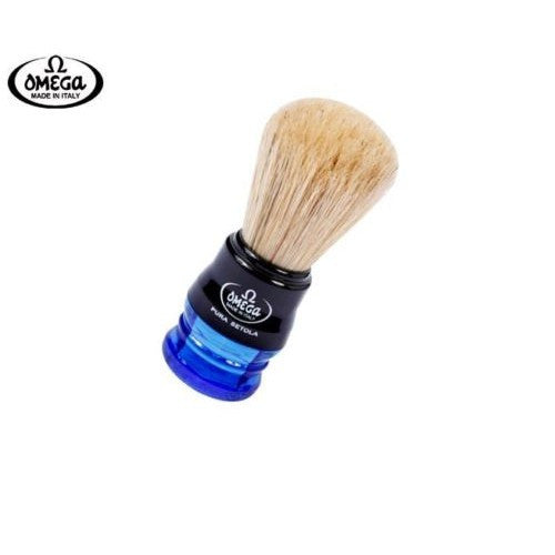 Omega 10077 shaving brush, blue handle, natural boar bristle