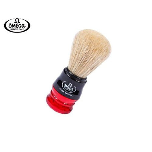 Omega 10077 shaving brush, red handle, natural boar bristle
