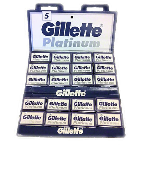 100 Gillette Platinum double edge blades  20 packs of 5 blades each High-Quality blades for all types of safety razors Double edge blades made in Gillette factory in St. Petersburg, Russia